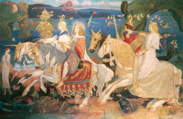 """The Tuatha Dé Danann as depicted in John Duncan's """"Riders of the Sidhe."""" (1911)"""
