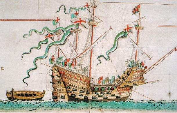 A 1547 illustration of the carrack Tudor ship Mary Rose, upon which were found many lice combs.
