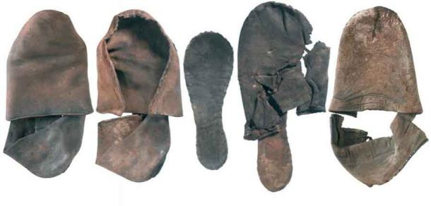 Tudor period shoes found during works on the Crossrail route near Farringdon Station, where the lost Faggeswell Brook was discovered. (MOLA)