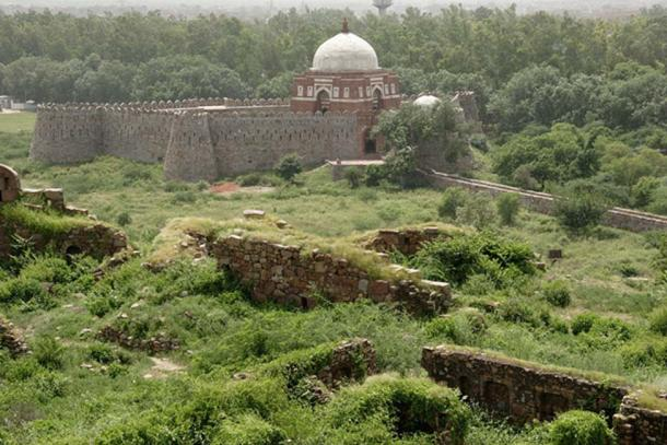 Ghiyath al-Din Tughluq's tomb as seen from Tughluqabad