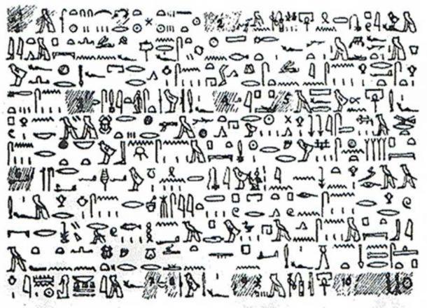 A copy of the Tulli Papyrus using hieroglyphics.