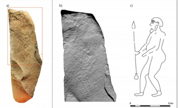 The Tulloch stone: a) photogrammetric image; b) hillshade model; c) interpretation. (University of Aberdeen)
