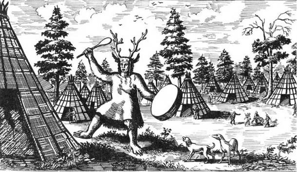 17th century drawing of a Tungus shaman wearing antlers.