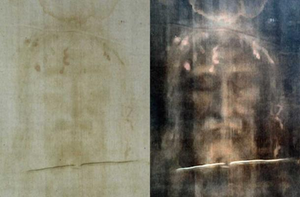 Turin shroud positive and negative displaying original color information.  (CC BY-SA 3.0)