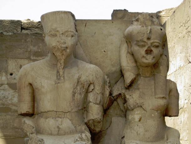 Statues of Tutankhamun and Ankhesenamun at Luxor Temple.
