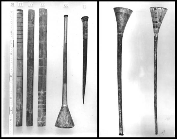 1922 photos of Tutankhamun's Bronze Trumpet and silver trumpet with its wooden core.