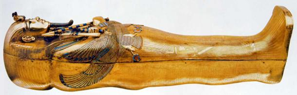 Tutankhamun's tomb, innermost coffin - gold with inlay of enamel and semiprecious stones.