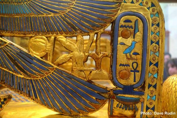 Inlaid 'Tutankhaten' cartouche from the right outer arm of the Golden Throne discovered in KV62 by Howard Carter in 1922. Egyptian Museum, Cairo.
