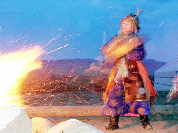 Tuvan shaman Ai-Churek during a Tengi fire ceremony in Tuva, Russia.