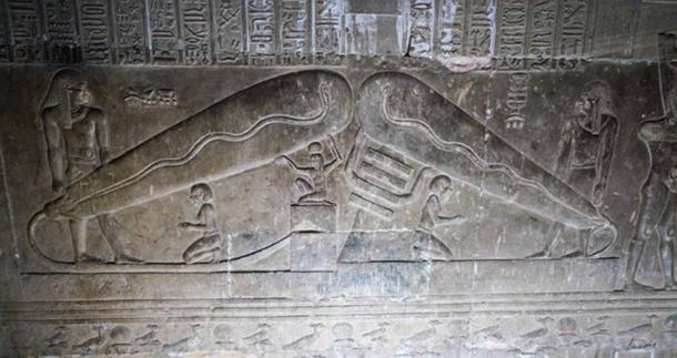 """Two """"Dendera lights"""", one held up by Ptah and the other by a Djed pillar. (Ioannis Syrigos)"""