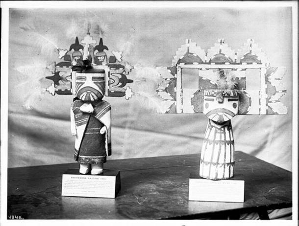 Two Hopi Indian kachina dolls (male and female), ca.1900.