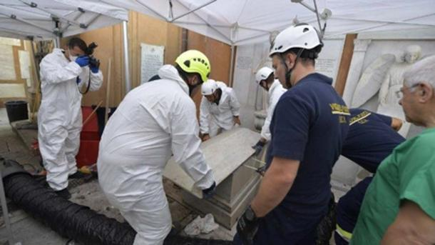 Two bodies were exhumed before the space with thousands of bones was revealed. (Vatican Media)