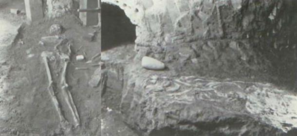 Two burials in the Spearhead Mound. (James L. Murphy)