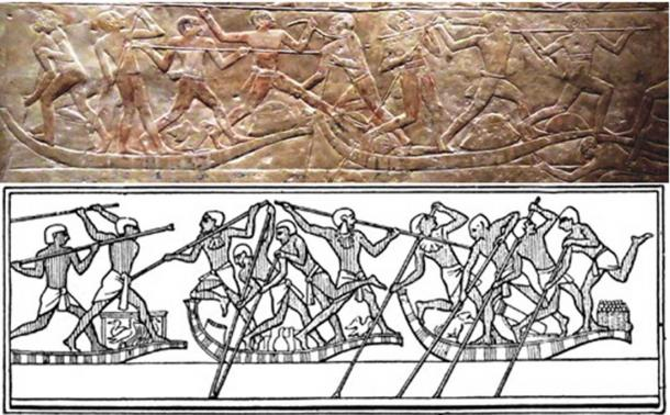 Two depictions of ancient Egyptian water jousting.