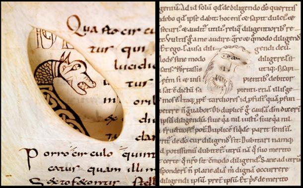 Two examples of holes being incorporated into the work: Bamberg, Staatsbibliothek, Msc.Nat.1 (9th century) (Staatsbibliothek Bamberg) and Bamberg, Staatsbibliothek, Msc.Patr.41, fol. 69r.