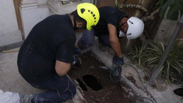 Two grave's underneath angel's have been excavated in the search of Teutonic cemetery. (Vatican Media)