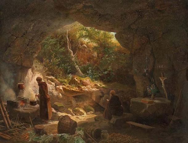 Two hermits in a cave. (Public Domain)