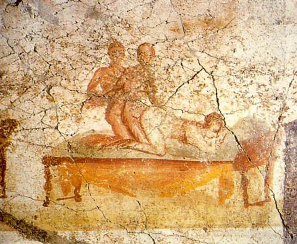 Two men and a woman making love; Pompeian wall painting, from one of the Therms (baths), the south wall of the changing rooms - painted around 79 BC. (Public Domain)