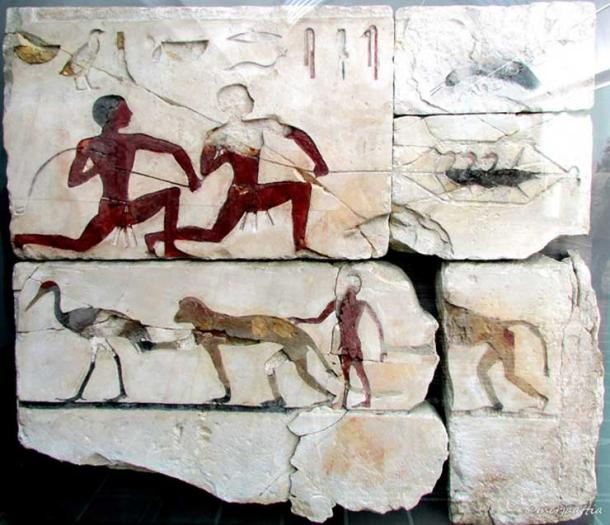 Two men are depicted catching birds, while in the lower register a boy is shown playing with two monkeys. Tomb of Atet, Meidum. Limestone with inlays. 4th Dynasty. Glyptotek, Copenhagen.