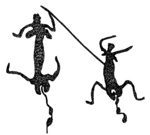 Two menstruating women dancing. Rock engraving from the Upper Yule River, Pilbara, Western Australia