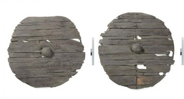 Two of the sixty-four shields from the Gokstad ship, thirty-two on each side. Every second was painted in yellow or black and the longship must have been a magnificent sight. (Photo: Museum of Cultural History, Oslo)
