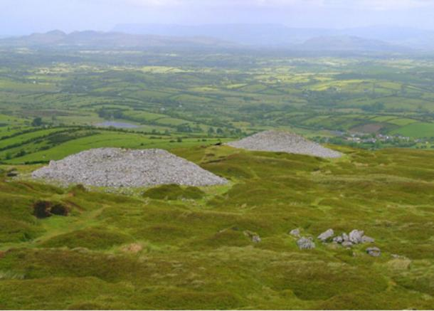 Two of the tombs at Carrowkeel, Ireland.