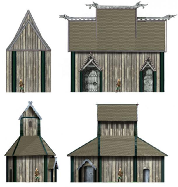Two reconstructions of the heathen hof at Uppåkra, Sweden