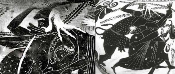 Two similar vase-scenes from about 550 BC depict Nimrod/Herakles knocking Noah/Nereus out of the way. (Author provided).