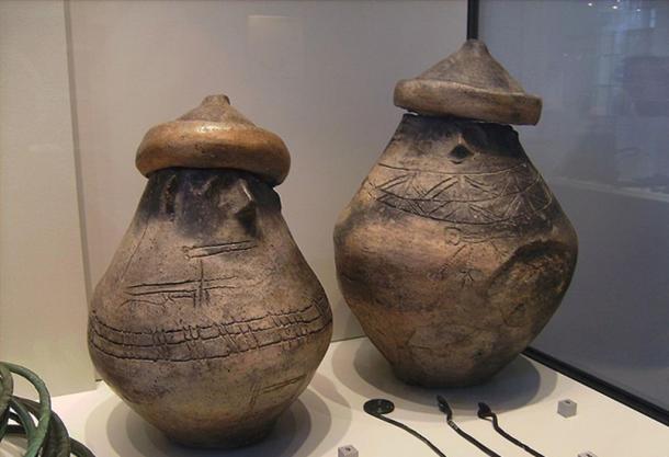 Two urns with facial decoration in Museum für Vor- und Frühgeschichte, Berlin.