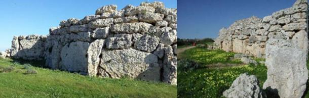 Two views of the massive walls at the Ġgantija megalithic complex.