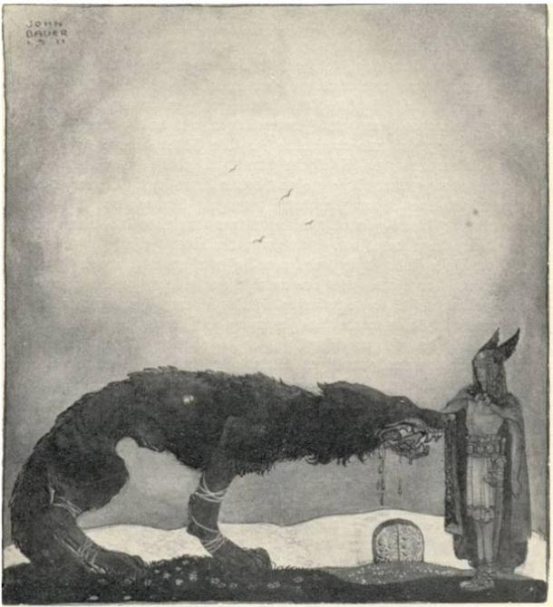 Tyr and Fenrir, in Our Fathers Godsaga, 1911.