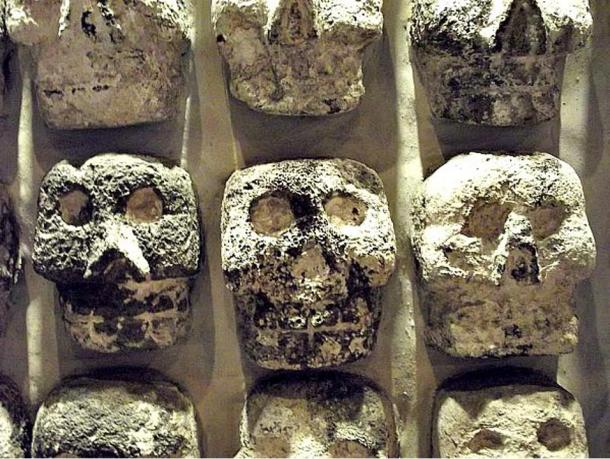 Detail of the Tzompantli located in the Templo Mayor in Mexico.