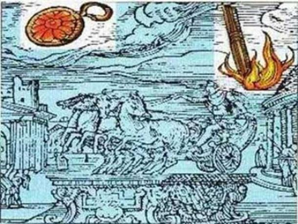 Renaissance illustration of a UFO sighting in Rome detailed in a book by Roman historian Julio Obsequens.