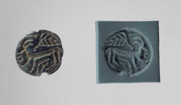 Ubaid Stamp seal and modern impression: horned animal and bird.
