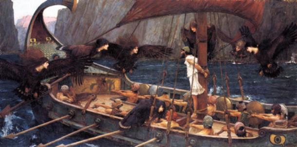 Ulysses and the Sirens, 1891, John William Waterhouse. Ulysses (Odysseus) is tied to the mast and the crew have their ears covered to protect them from the sirens