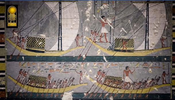 A painting in Khuwy's tomb depicting boats and rowers. Credit: Screenshot from Ministry of Antiquities video