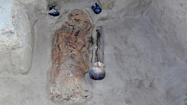 Undated photograph released by the Ministry of Culture of Peru of one of the burials.