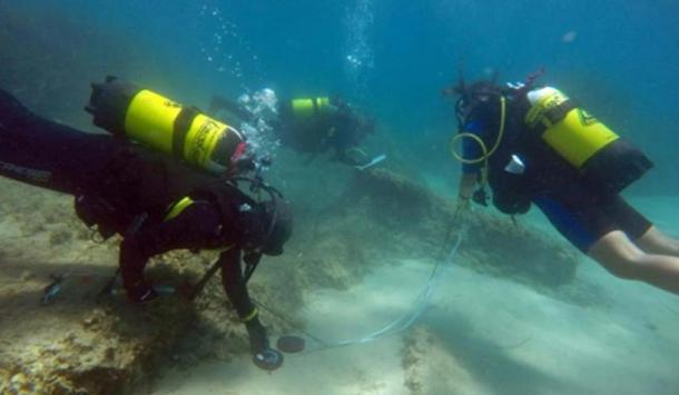Underwater archaeologists off the coast of Nabeul in northeastern Tunisia at the site of the ancient Roman city of Neapolis