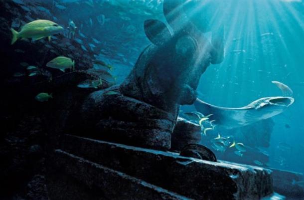 ruinas submarinas, la imagen de representación.