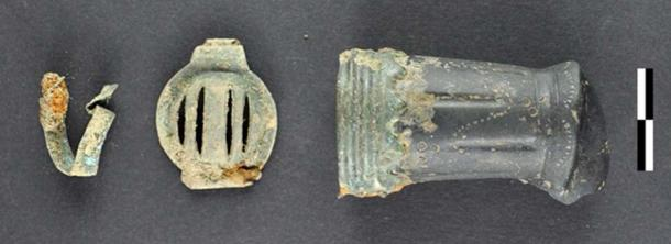 Uniform pieces found at the site. Hundreds of objects are being recorded and will add to the history of the battlefield. (Image: Novetus)