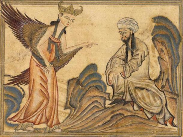 In this painting, a miniature from the book The Universal History of the World by Rashid al-Din, published in 1307, Mohammed receives his first revelation from the Archangel Gabriel.