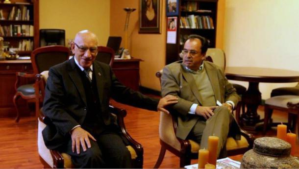 Padre Javier Herrán (left) and Dr. Luis Alvarez (right) welcomed us at the Universidad Politécnica Salesiana to tell the story of Father Crespi and his artifacts.
