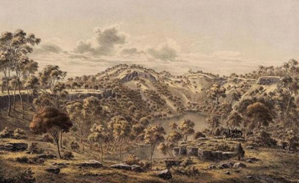 Crater of Mount Eccles (Budj Bim, Victoria) in the 1860s. (Public Domain)