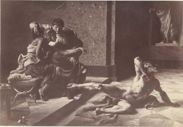 Joseph-Noël Sylvestre: Locusta testing in Nero's presence the poison prepared for Britannicus.