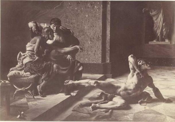Joseph-Noël Sylvestre: Locusta testing in Nero's presence the poison prepared for Britannicus.