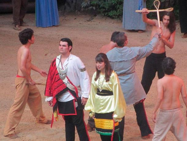 """""""Unto These Hills"""" performers in Cherokee, NC. The play tells Tsali's story as passed on through the years via Cherokee oral tradition"""