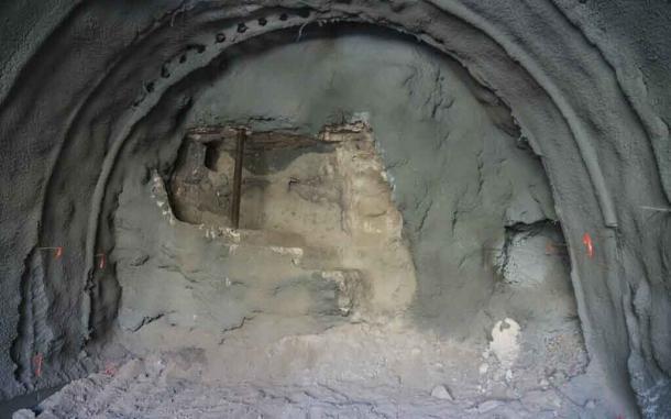 A closeup of the ritual bath wall exposed at Gethsemane. (Yaniv Berman / Israel Antiquities Authority)
