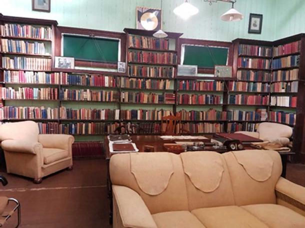 Upon restoration, the library books were returned and arranged in their original order on the shelves.