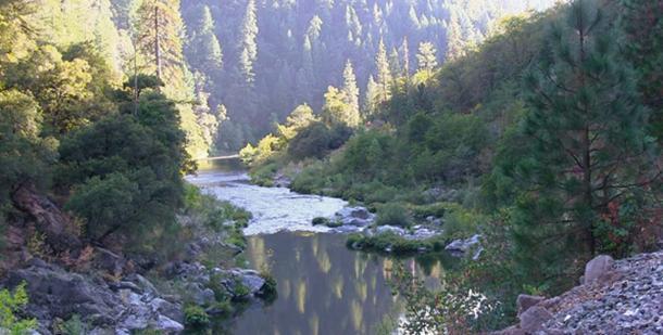 """Upper Sacramento River south of Mount Shasta, near Sim's Flat"""