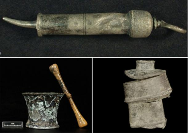 Top: Urethral syringe used to treat syphilis. Bottom left: Brass mortar and pestle, used to prepare medicine. Bottom right: Clyster pump used to pump fluid into the rectum.